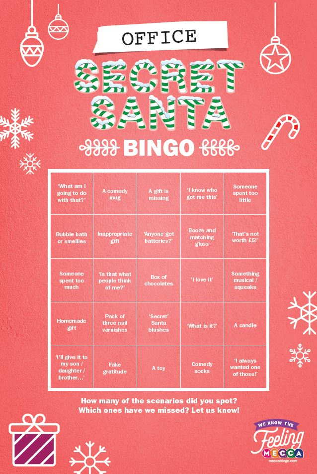 Secret Santa Bingo Card