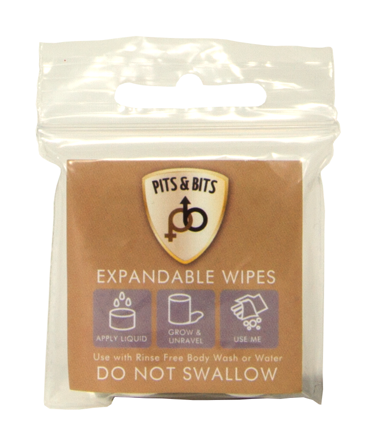 Waterless expandable wipes