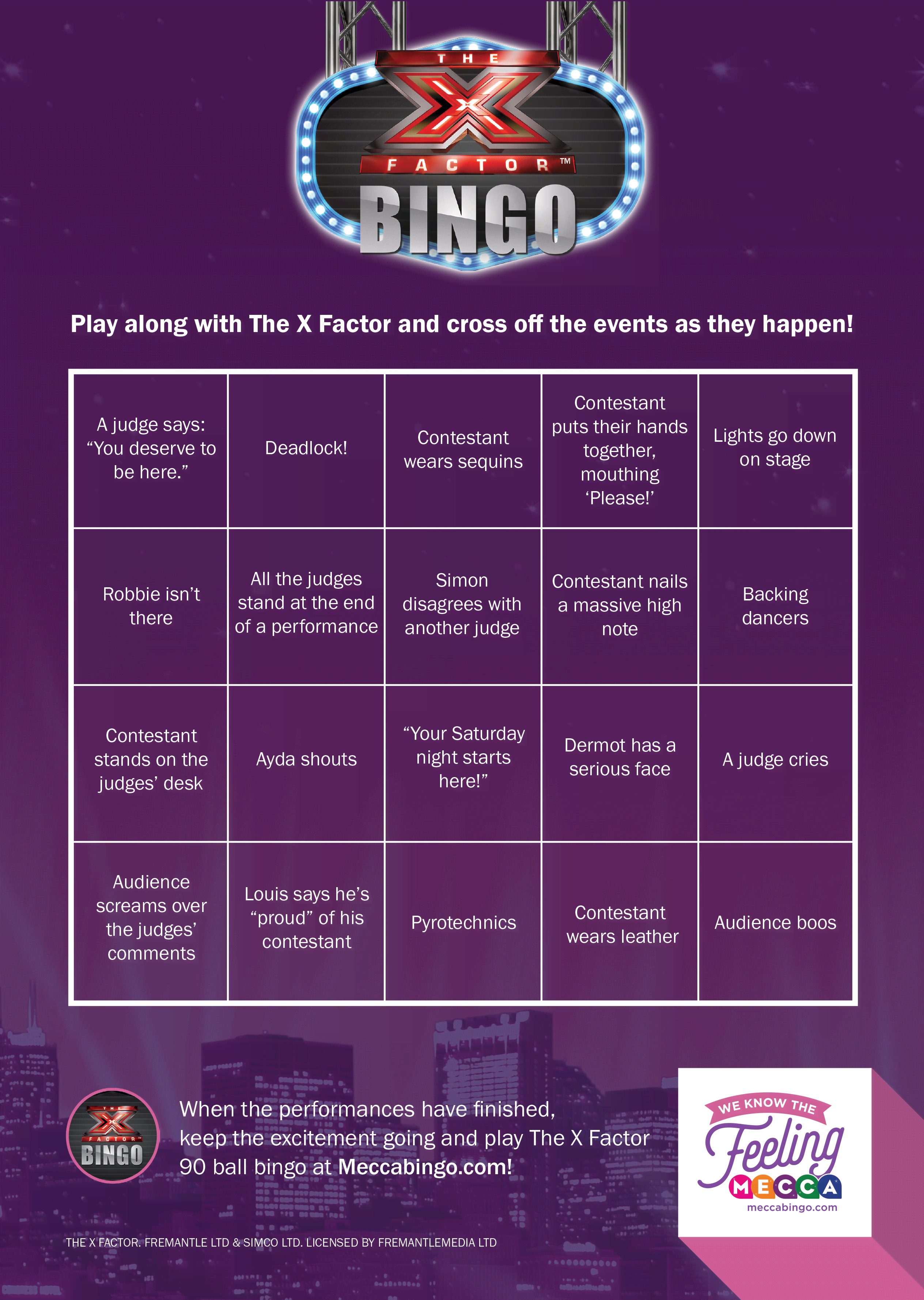 X Factor Bingo Card