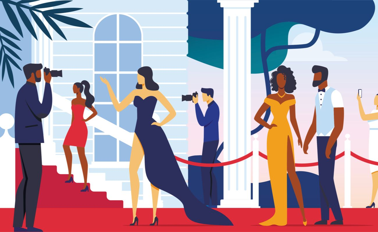 Illustration of press taking pictures of celebrities at a red carpet event