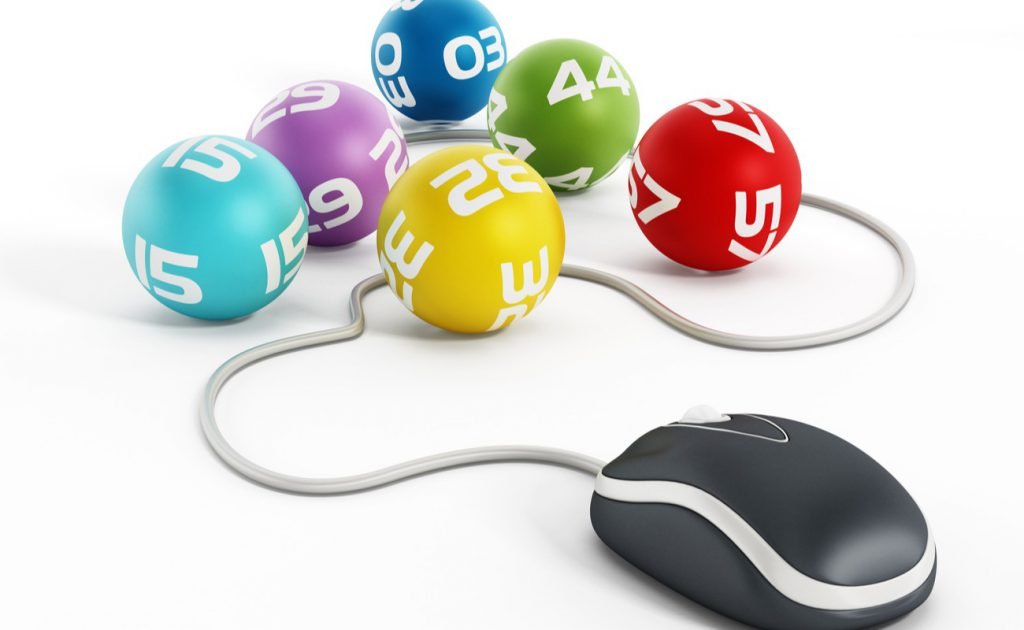 Internet lottery concept with computer mouse connected to lottery balls