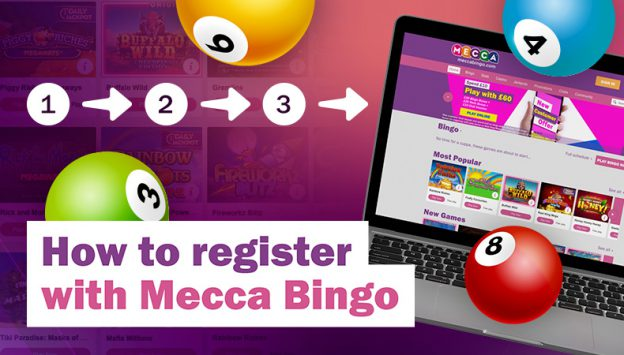 How to register with Mecca Bingo written next to a laptop