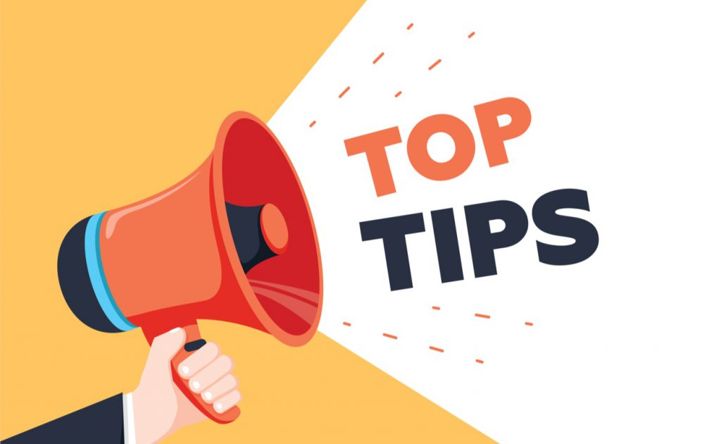 Top tips being shouted through a megaphone
