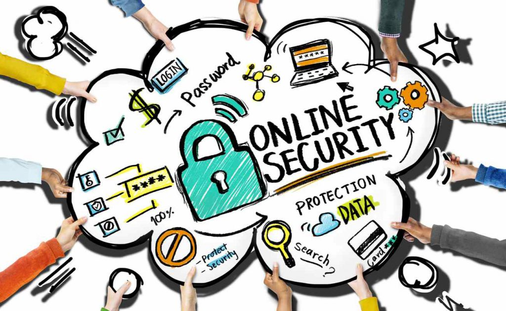 Drawing of online security concepts with multiple hands holding the drawing