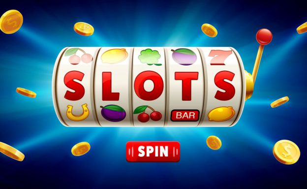 slots 3d element isolated on blue background