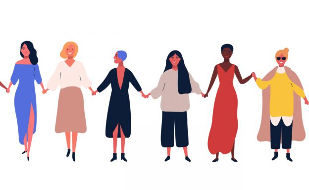 Illustrated female characters standing together holding hands