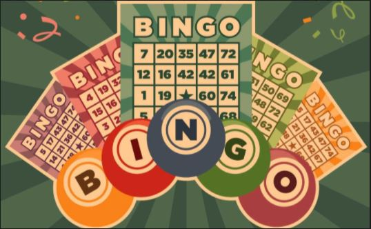 retro vintage illustration of bingo game cards and balls